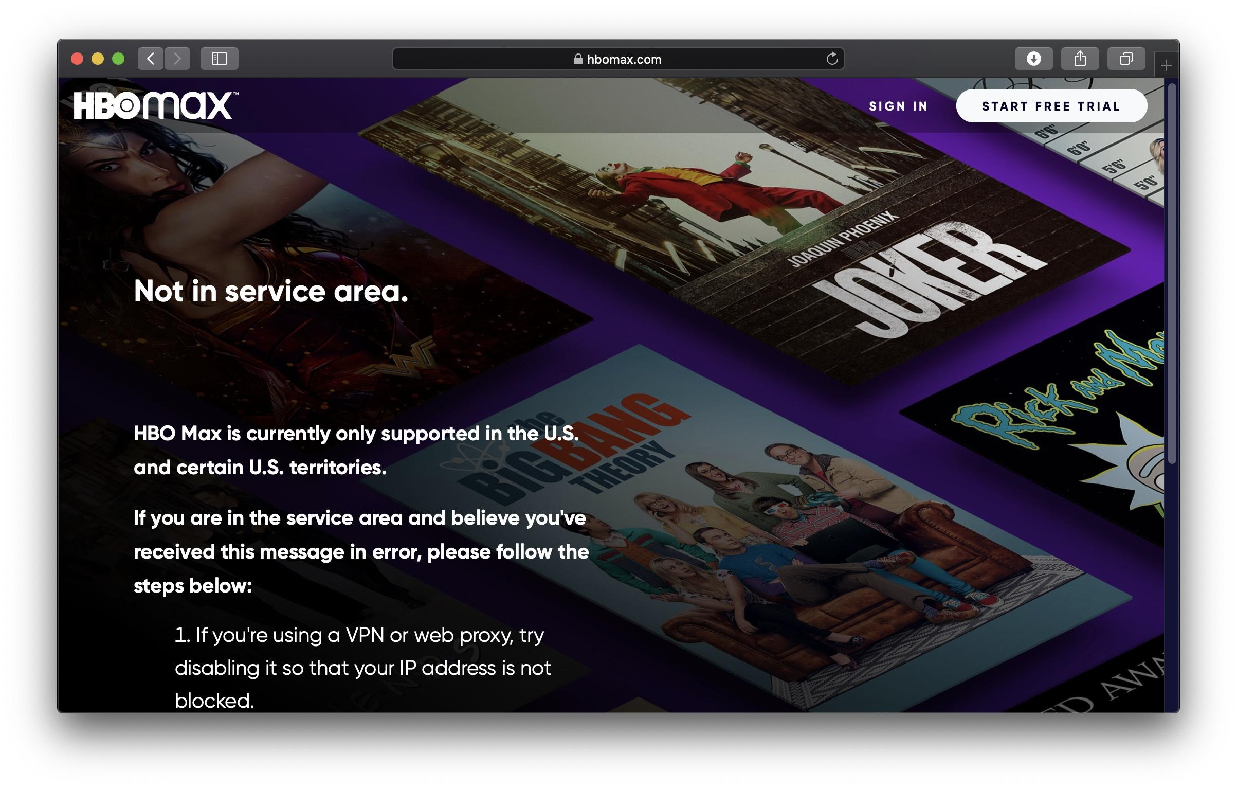 Geo blocked video content for HBO